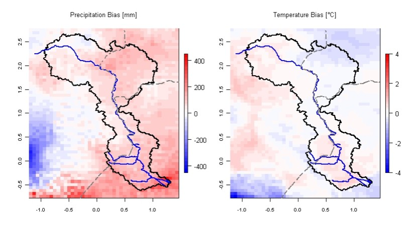 Bias of the long-term yearly means for precipitation and 2m temperature