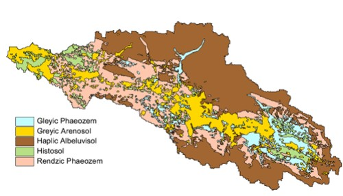 Soil map of the headwater catchment in the study area Western Bug