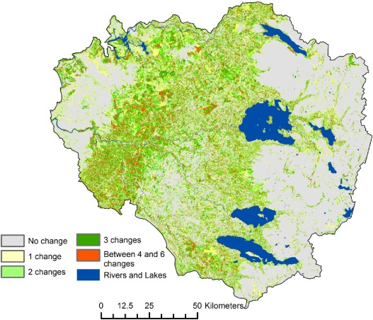 Spatial distribution and persistence of land cover changes over the whole study periods (1985–2011).