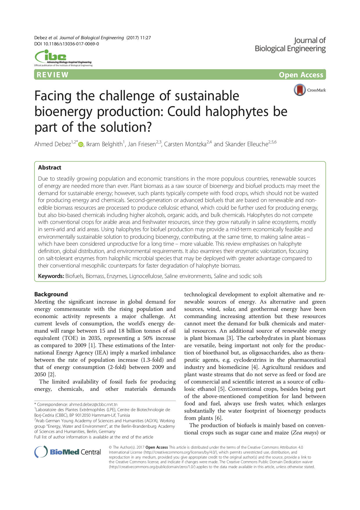 Wissenschaftlicher Artikel - Facing the challenge of sustainable bioenergy production: Could halophytes be part of the solution?
