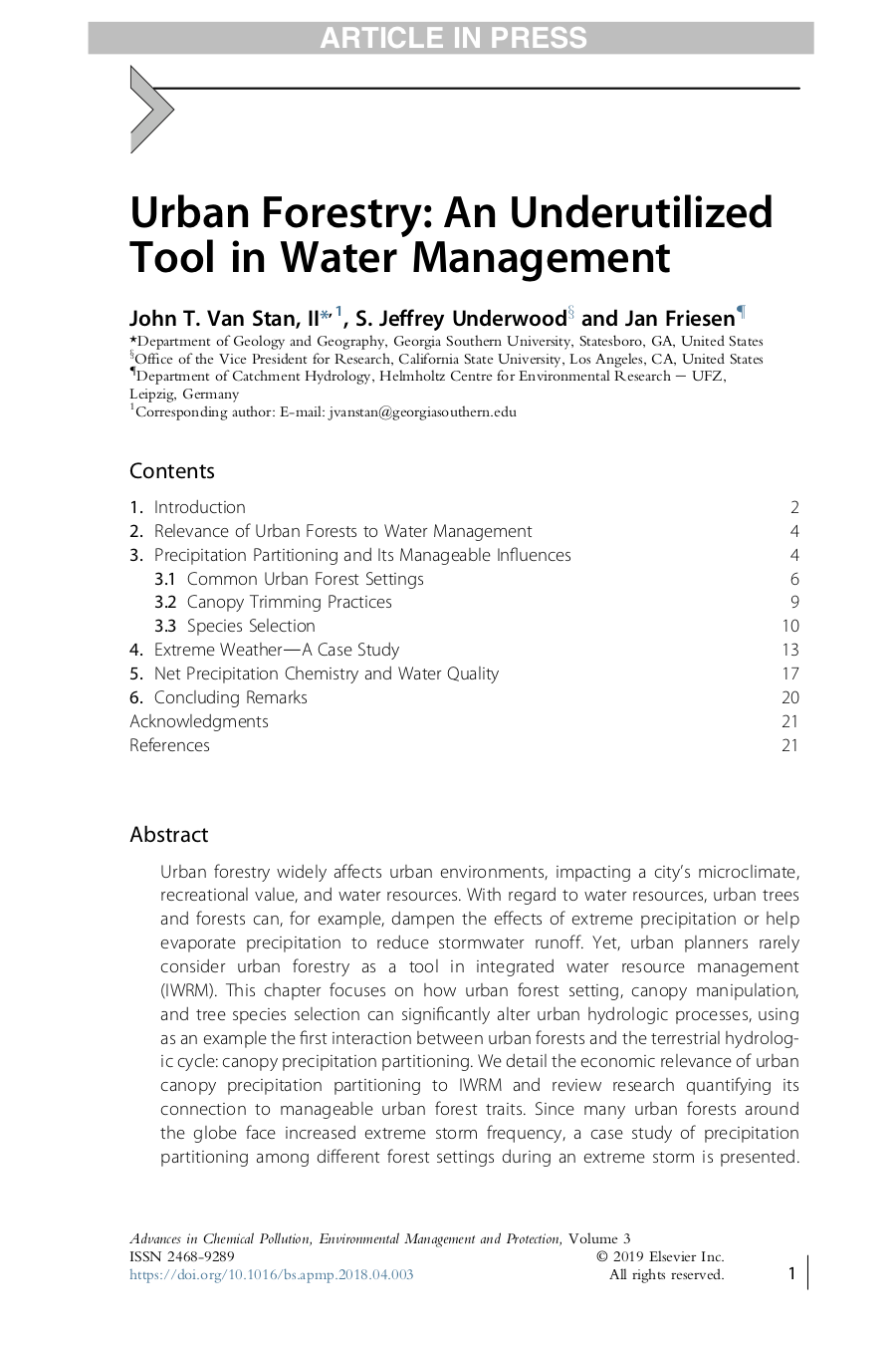 Wissenschaftlicher Artikel - Urban Forestry: An Underutilized Tool in Water Management