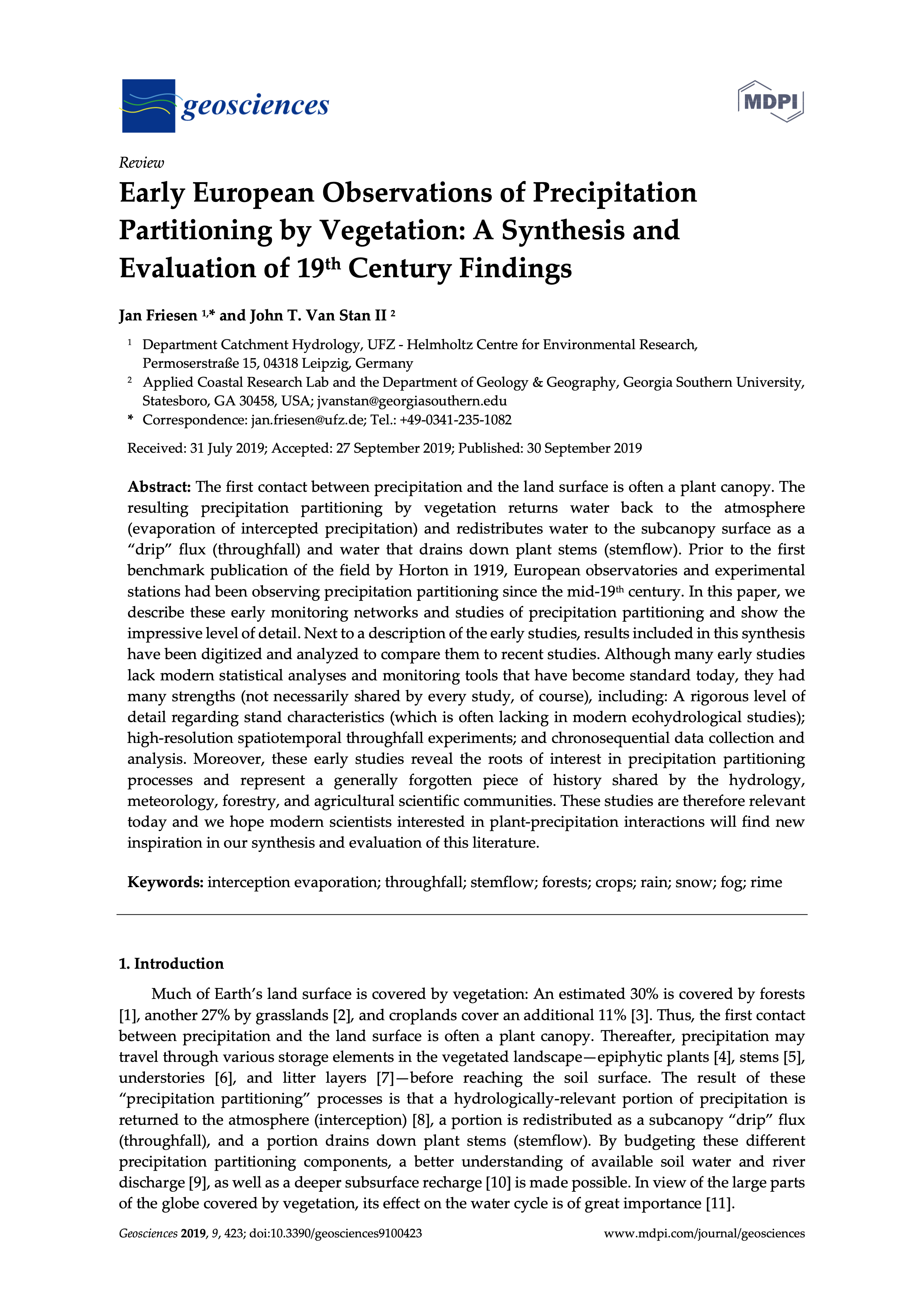 Friesen_Van Stan_2019 Early European Observations of Precipitation Partitioning by Vegetation