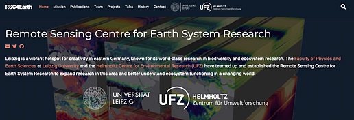 Screenshot webpage: Remote Sensing Centre for Earth System Research
