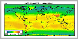Average intensity of global UV-B radiation – mean UV-B of highest month. (Quelle: Tomáš Václavík/UFZ)