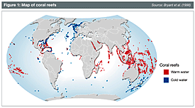 Map of coral reefs