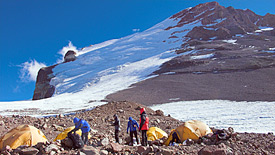 Camp of the DAV Summit Club on the eastern side of the Aconcagua.