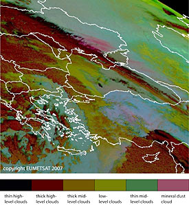 Dust source activation on 23 March 11:00 UTC over the southern Ukraine (arrow)