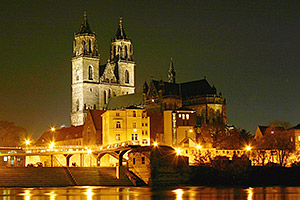 Elbe mit Magdeburger Dom. Foto: Prinz Wilbert. Quelle: Wikimedia Commons