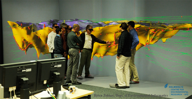 Visualization of a geological model in our visualization centre.