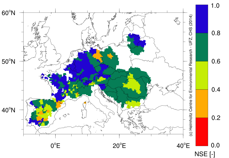 mHM performance over 346 European basins. High NSE (blue, green) corresponds to a good fit of simulated discharge with observations.