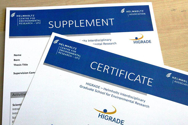 HIGRADE Certificate and Supplement. Photo: Silvia Voigt