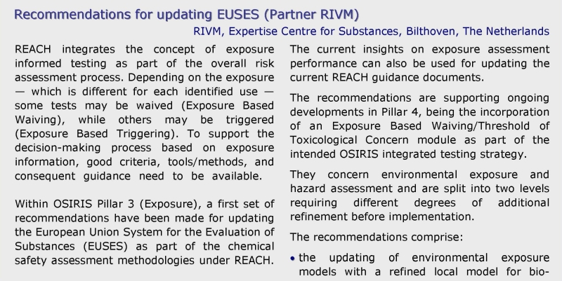 Recommendations EUSES 1 RIVM