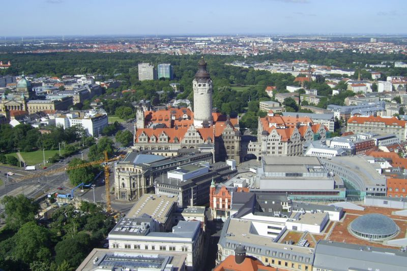 Arial view on Leipzig's city centre