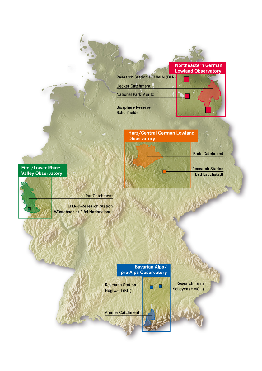 Map of Germany, indicating locations of the four TERENO observatories (Zacharias et al. 2001. A network of terrestrial environmental observatories in Germany. Vadose Zone Journal 10:955-973)