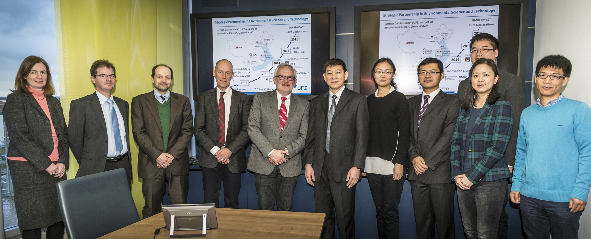 Delegation visit of the Ministry of Science and Technology (Mr. YANG, Deputy General Director) to discuss strategic cooperation between China and Germany in environmental science and technology, Leipzig, 13.01.2016