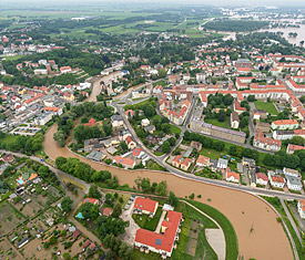 Eilenburg at the river Mulde in Saxony, Flood 2013